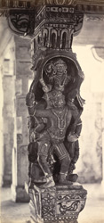 Ramisseram [Rameswaram] Pagoda, Island of Paumben. Carved pillar in centre corridor 212329